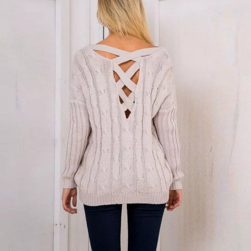 AU-V-Neck-Lace-Up-Winter-Sweater-Women-Autumn-Long-Sleeve-Tops-Jumper-Pullover