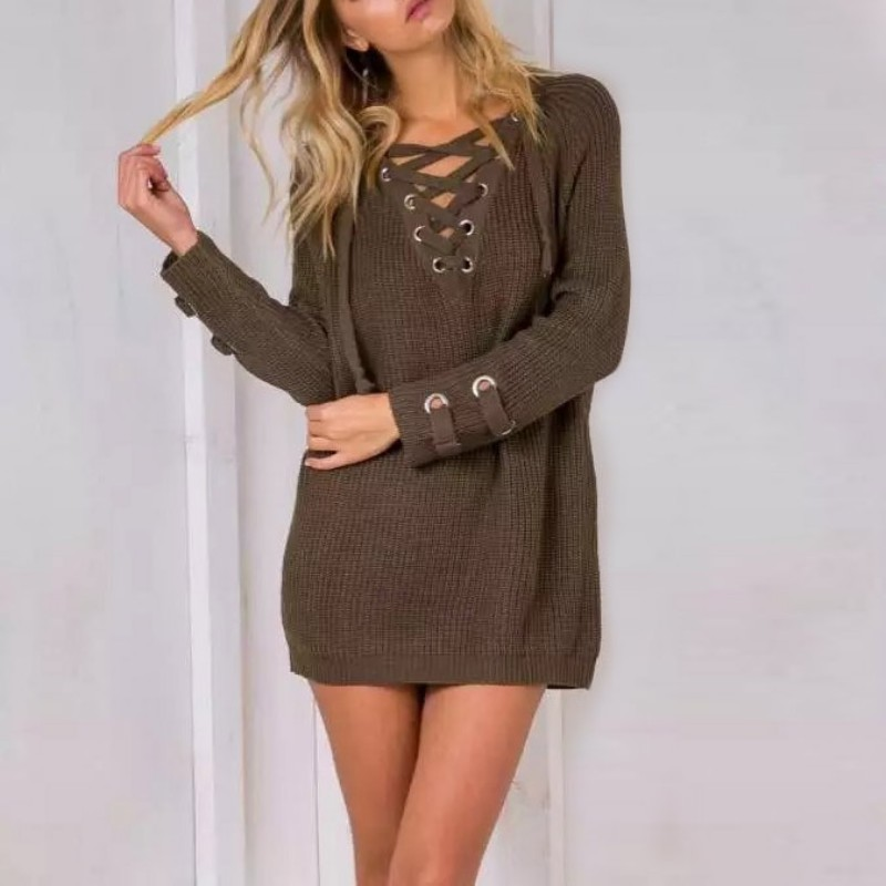 AU-V-Neck-Lace-Up-Winter-Sweater-Women-Autumn-Long-Sleeve-Jumper-Pullover-Outfit