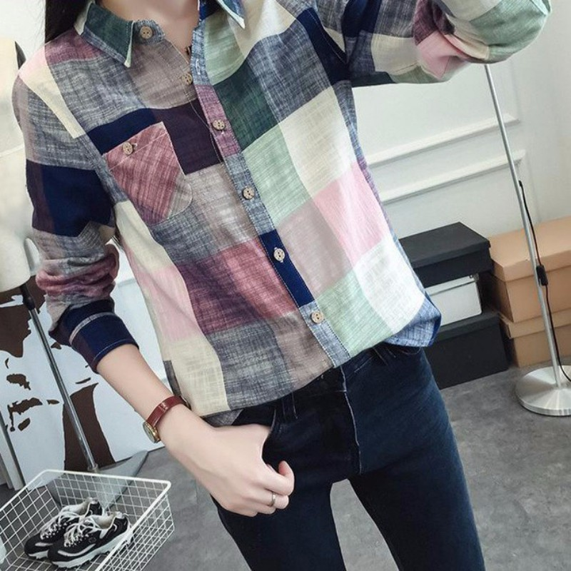 Women-Casual-Lapel-Shirts-Plaids-Flannel-Cotton-OL-Button-Down-Tops-Blouse-Tee