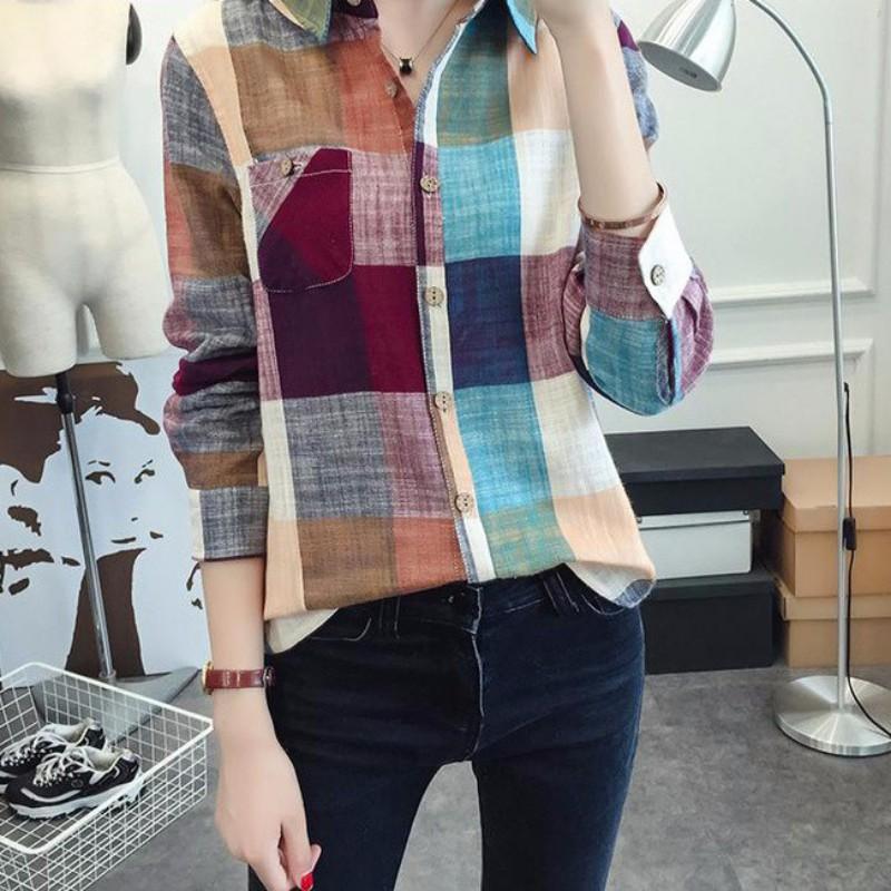 AU-Women-Plaid-Check-Lapel-Button-Long-Sleeve-Casual-Top-Shirt-Colorful-Blouse