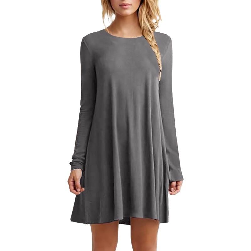 Women-Loose-Casual-Skater-Swing-Dress-O-neck-Long-Sleeve-Ruffles-Mini-Dress-AU