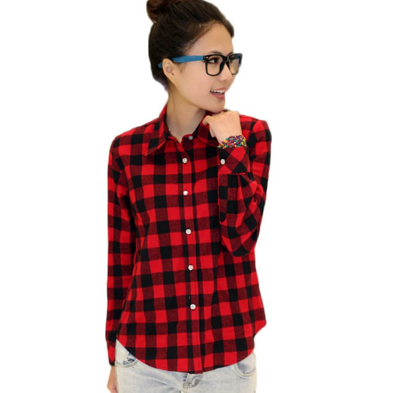 Womens plaid check lapel shirt long sleeve flannel button for Women s plaid button down shirts