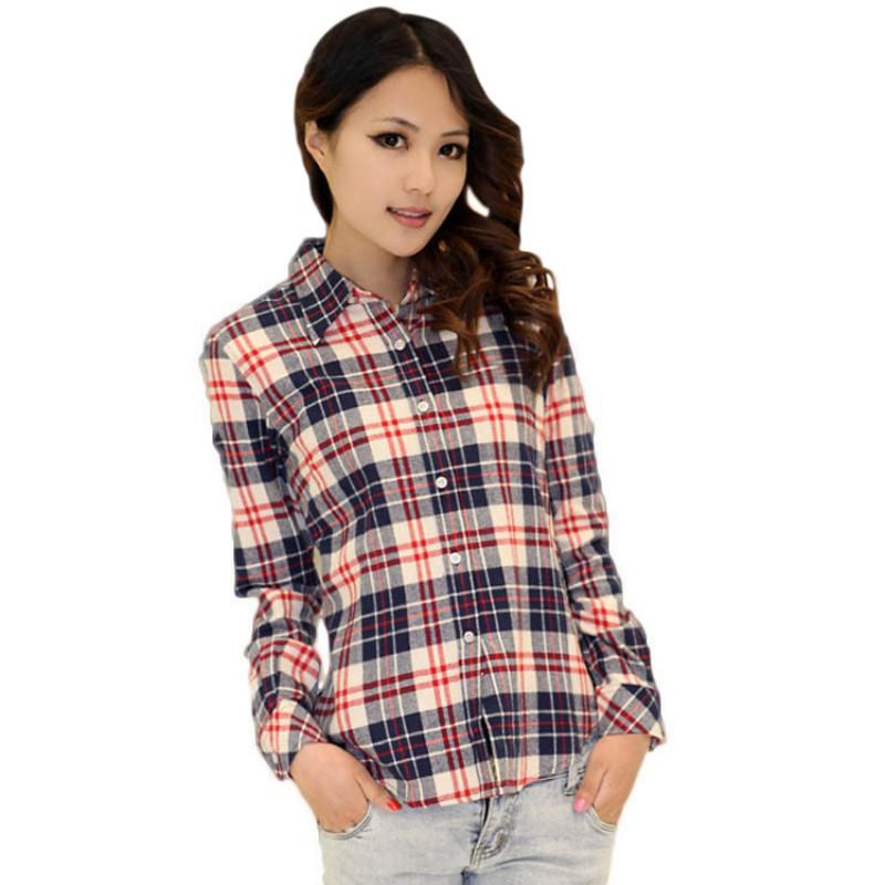 Plus women plaid check lapel shirt long sleeve flannel for Women s stewart plaid shirt