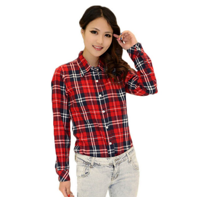 Trendy women button down blouse tops long sleeve flannel Womens red plaid shirts blouses