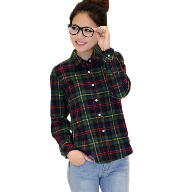 Womens Plaid Check Lapel Shirt Long Sleeve Flannel Button