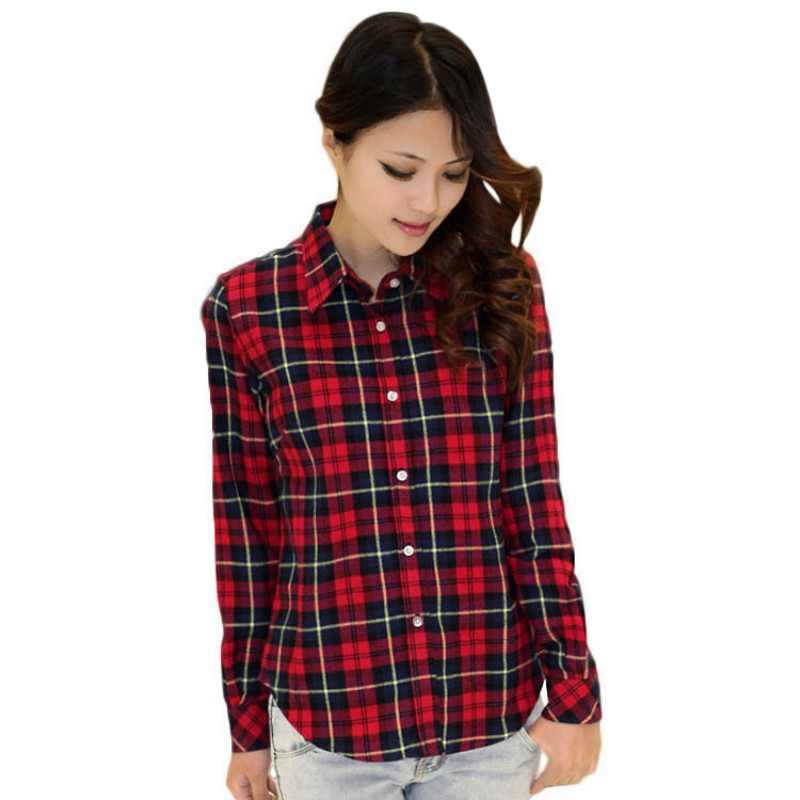 trendy women button down blouse tops long sleeve flannel