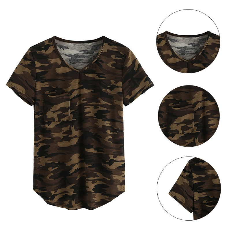 Women summer v neck camouflage printed t shirt short for Camouflage t shirt printing