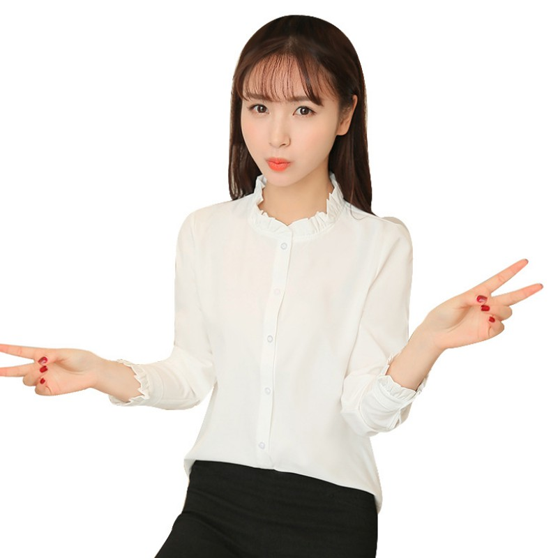 Fashion women slim lace stand collar long sleeve formal ol for Stand collar shirt womens