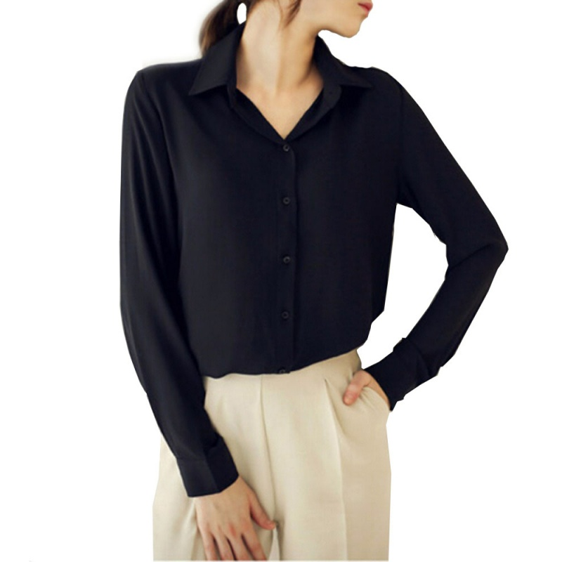 Women formal long sleeve shirt ladies office loose chiffon for Ladies long sleeve shirt