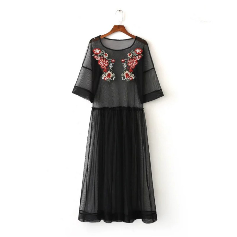 Women black mesh floral embroidered sheer maxi dress tulle