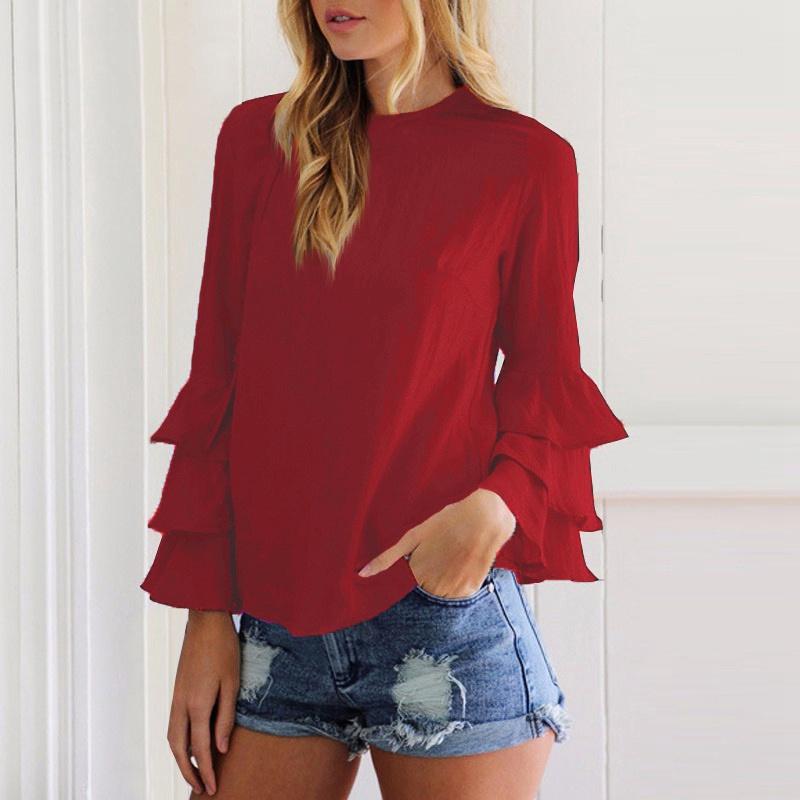 Women-Long-Bell-Sleeve-Ruffled-Flounce-Crew-Neck-Blouse-Casual-Shirt-Top-T-shirt thumbnail 17