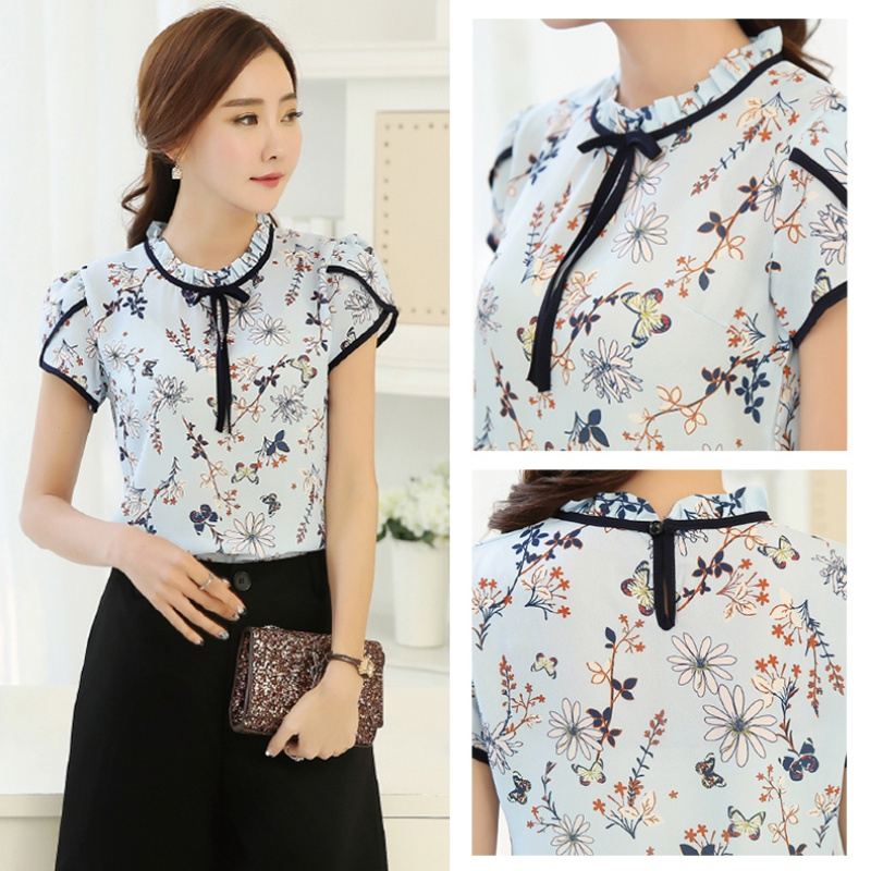 Women-Short-Sleeve-Floral-Printed-Blouse-Tops-Fashion-Chiffon-T-shirts-PLUS-SIZE