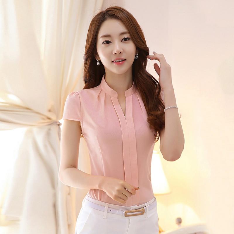 Women Ladies Ol Work Formal Cotton Shirt Office Uniform V Neck