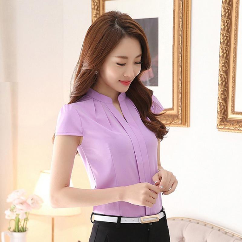 Office Uniform Ol Work Wear Women Ladies Formal Cotton Shirt V Neck