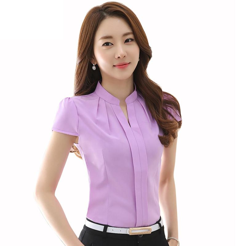 Vogue Women Formal Cotton Shirt Office Uniform OL Work V ...