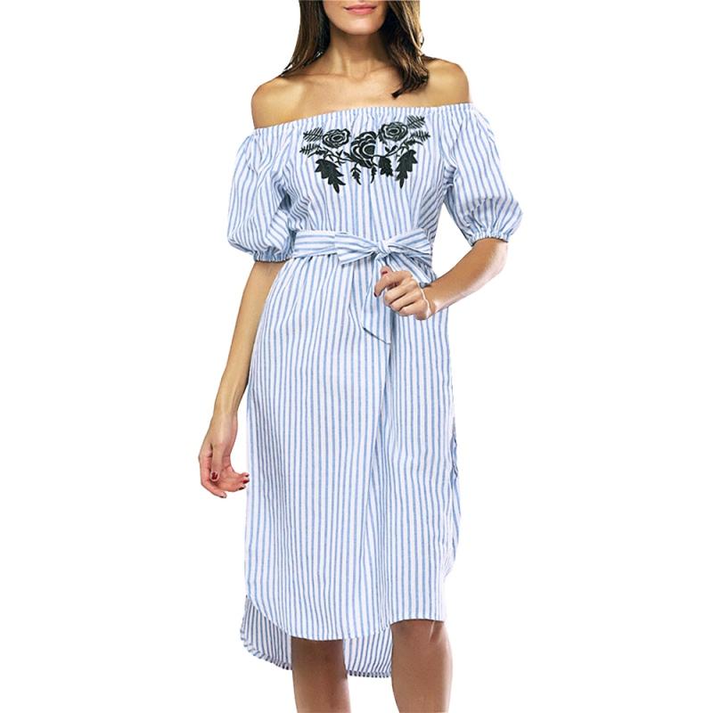 s shoulder striped dress summer casual waist
