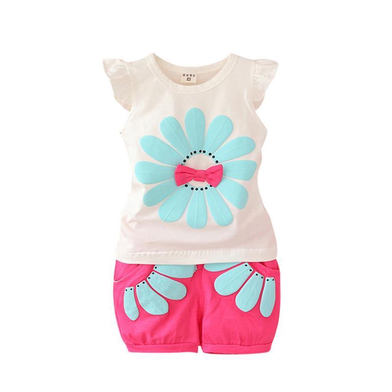 Chic new kids baby girls t shirt vest tops shorts pants for Newborn girl t shirts