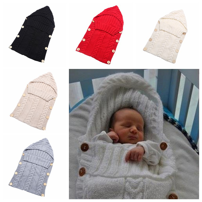 Kids Baby Warm Swaddle Wrap Blanket Newborn Knitted