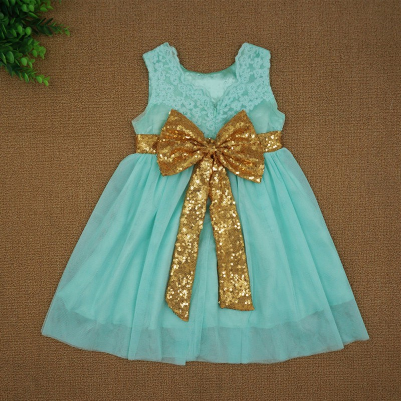 Kids Baby Girl Sequin Bowknot Dress Pageant Party