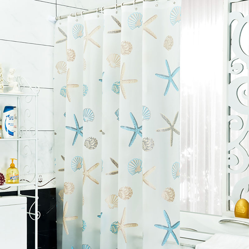 Modern Designer Sea PEVA Bathroom Shower Curtain with 12 Hooks 180cm ...