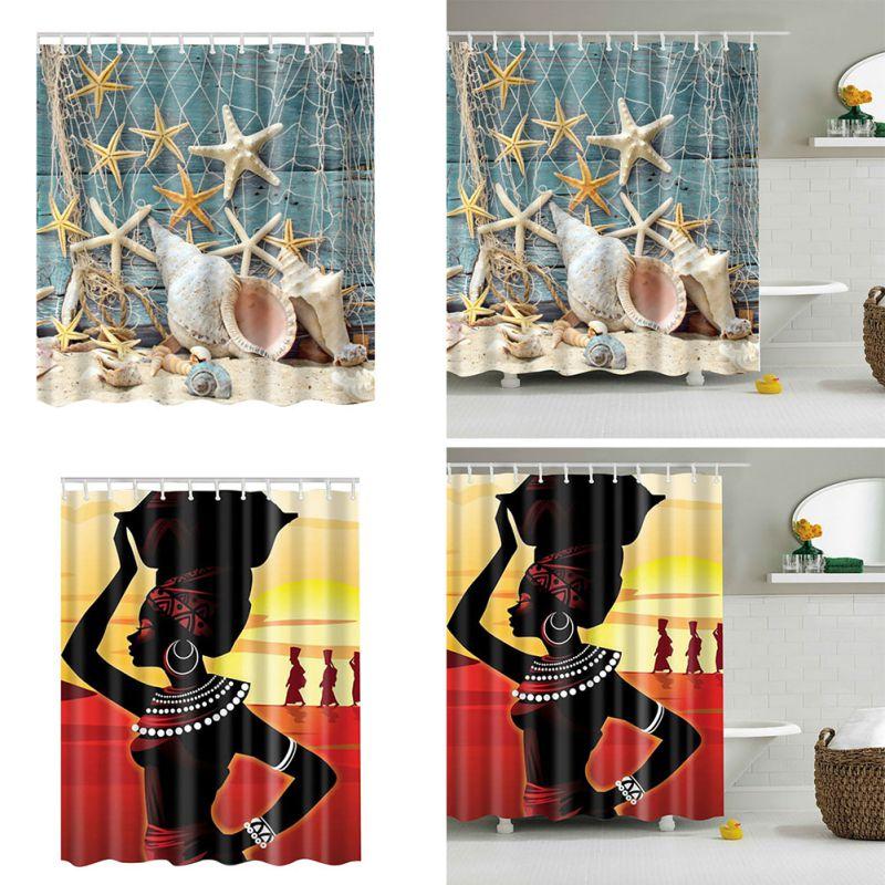 Fashion Bathroom Decor: Shell African Style Waterproof Bath Bathroom Shower