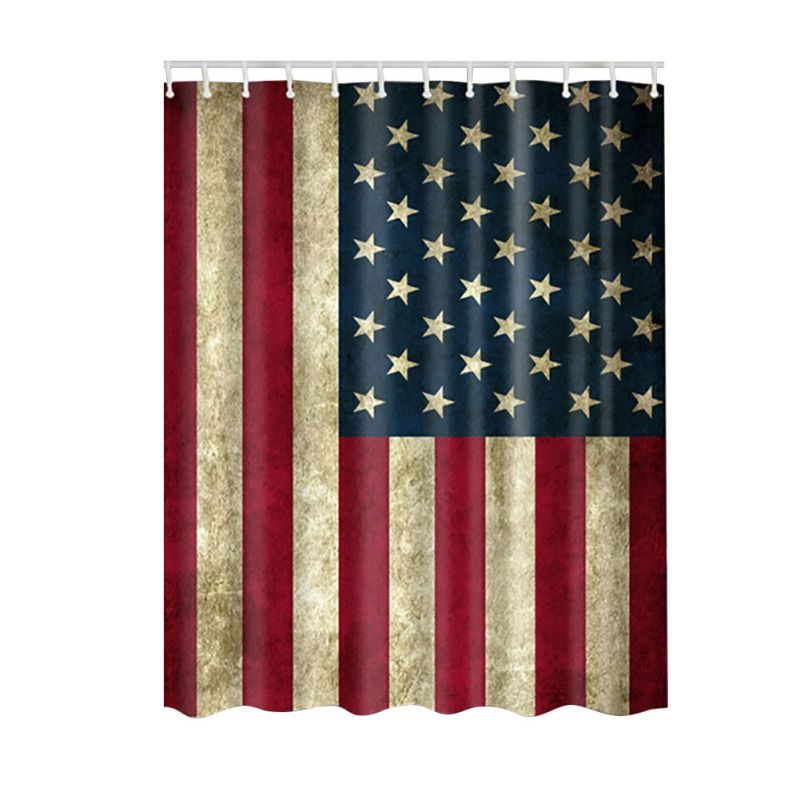 Bath Waterproof Shower Curtain Usa Flag Bathroom Curtains Hooks Decor Decal Us