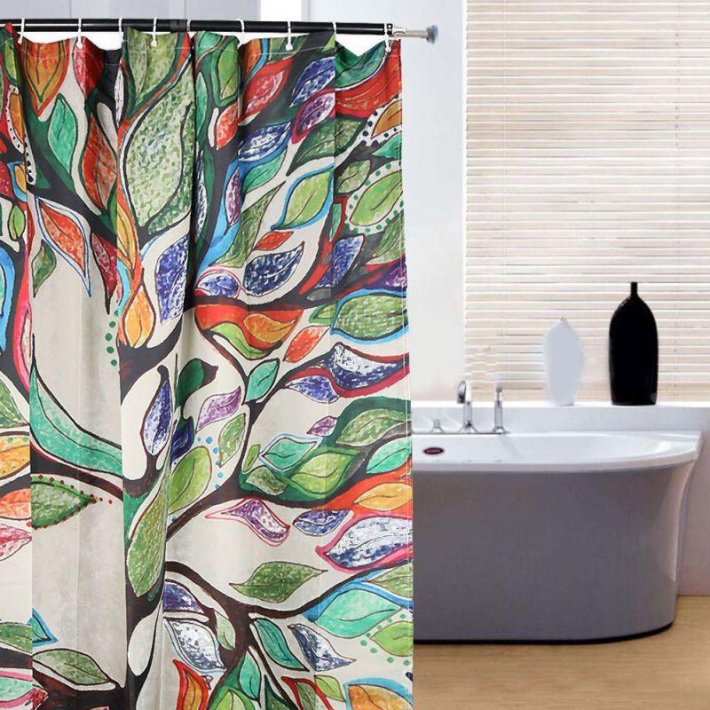 Bathroom Waterproof Fabric Colorful Tree Print Shower Curtain