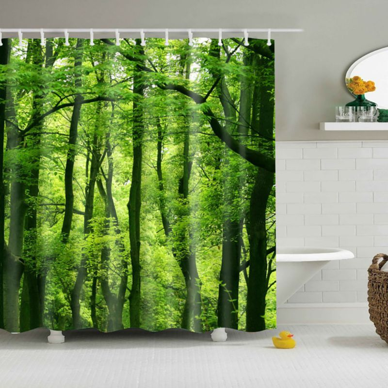 Bathroom Waterproof Fabric Colorful Tree Print Shower