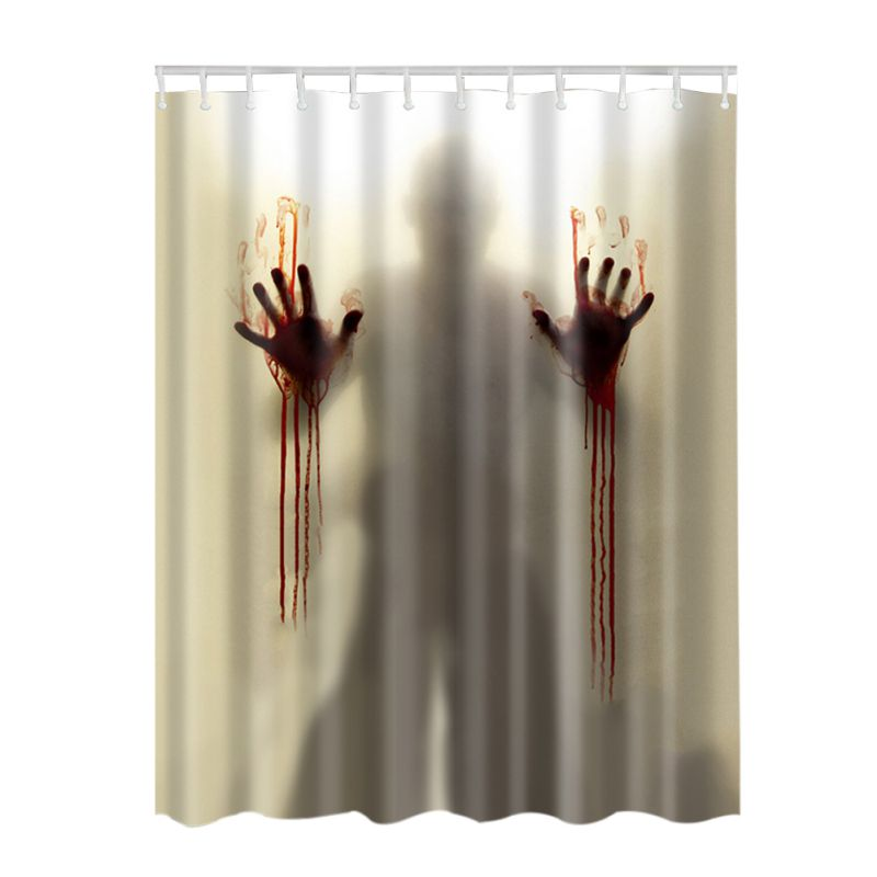 Waterproof fabric shower curtain with 12 hooks bath 3d for Bathroom decor uk