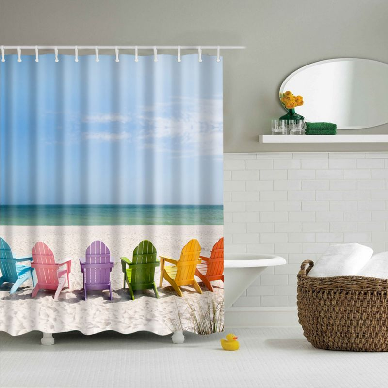 Waterproof Bathroom Fabric Shower Curtain with Hook Ocean Sea Beach ...