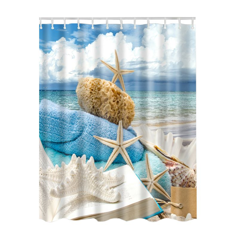 Fabric Waterproof Bathroom Bath Ocean Sea Beach Shells
