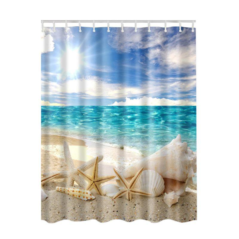 3d Printing Waterproof Fabric Shower Curtain Bathroom Drapes Panel ...