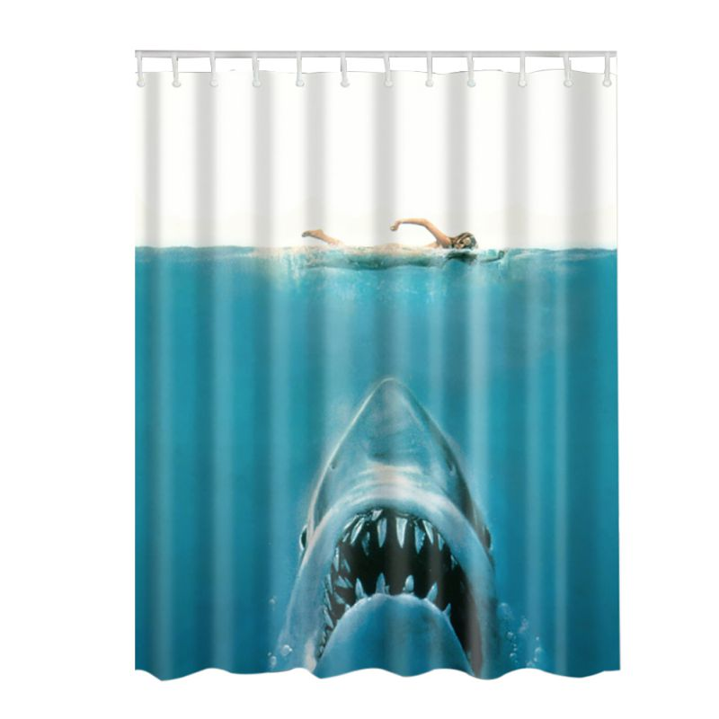 Cloud Window Curtains 3d Printing Nautical Home Decor: Shark/ELephant Octopus 3D Art Print Bathroom Set Fabric