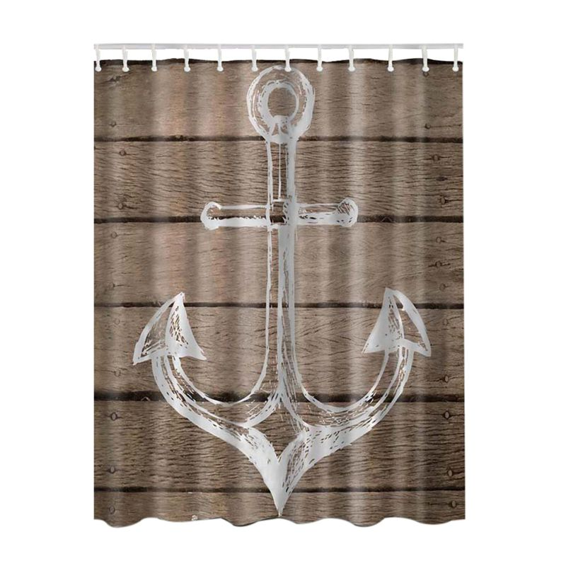 New 3D Nautical Anchor /Map Print Bathroom Set Fabric Shower Curtain with Hooks