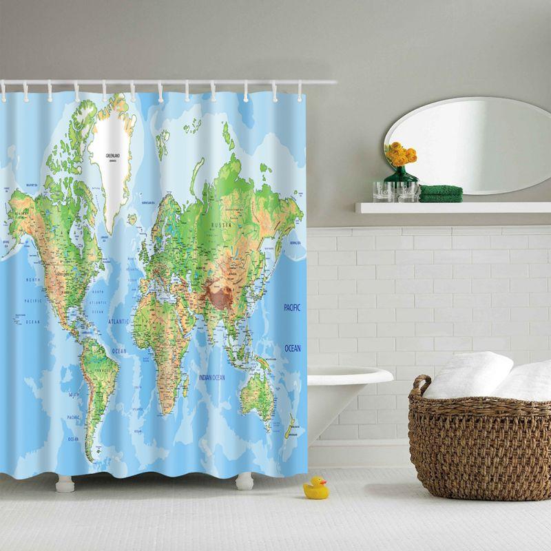 3d art nautical anchor map print bathroom set fabric for 3d bathroom drawing