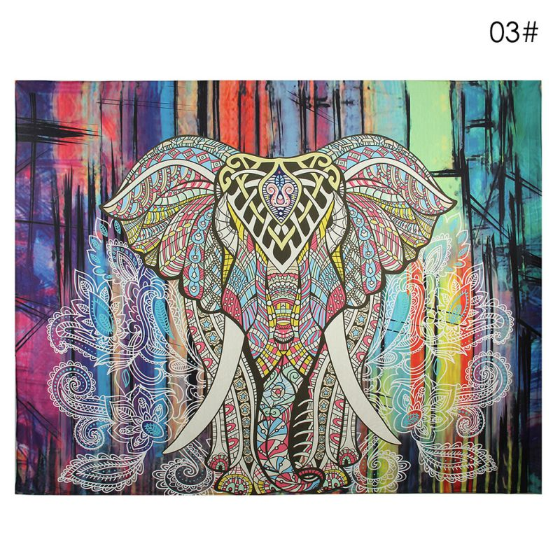 Indian Elephant Decor Mandala Tapestry Bedspread Wall
