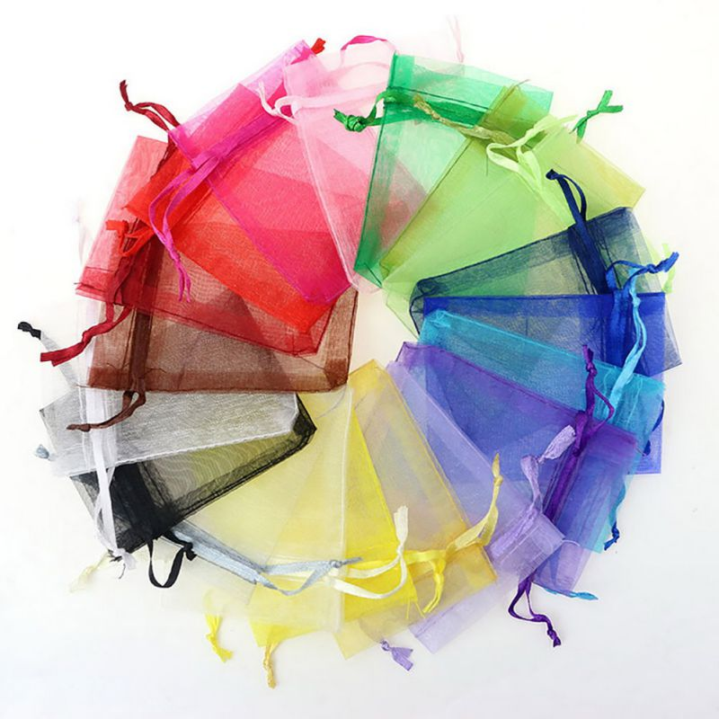 100pc Organza Gift Bags Jewelry Candy Bag Wedding Favors Bags Mesh