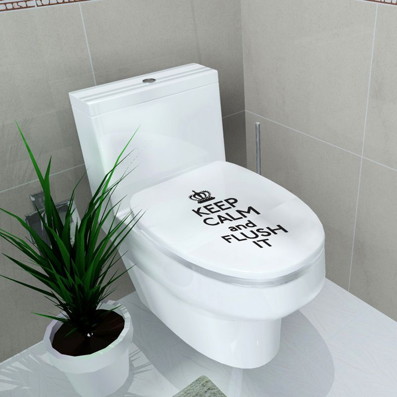Toilet seat sticker bathroom lid seat cover decal vinyl for Bathroom decor stickers