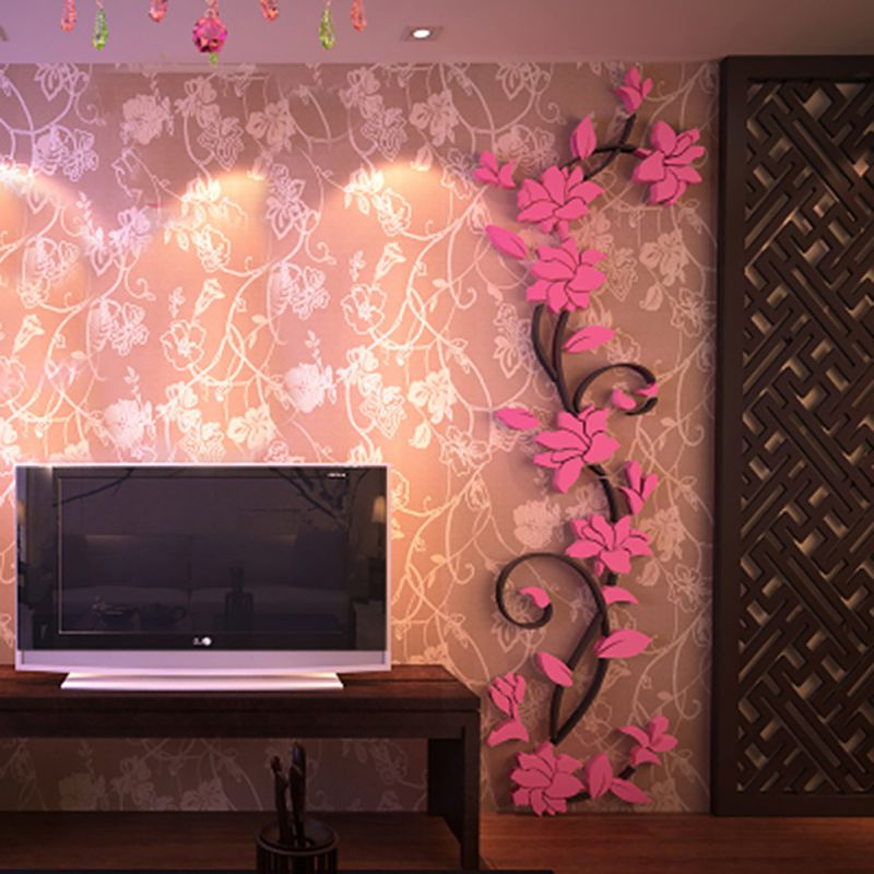 3D Flower Beautiful DIY Mirror Wall Decals Stickers Art Home Room ...
