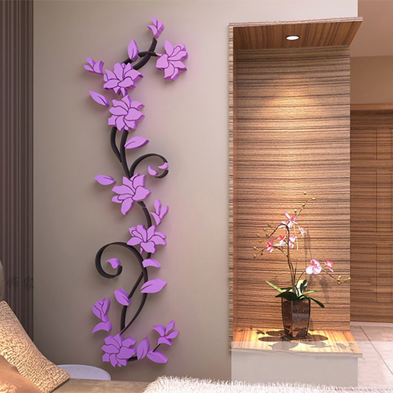 US 3D Flower Beautiful DIY Mirror Wall Decals