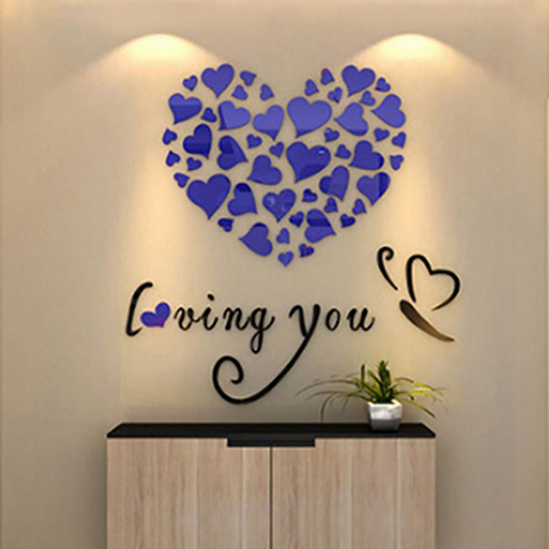 3d Removable Romantic Flowers Heart Wall Sticker Home Room Decor Decal Mural Hot Ebay