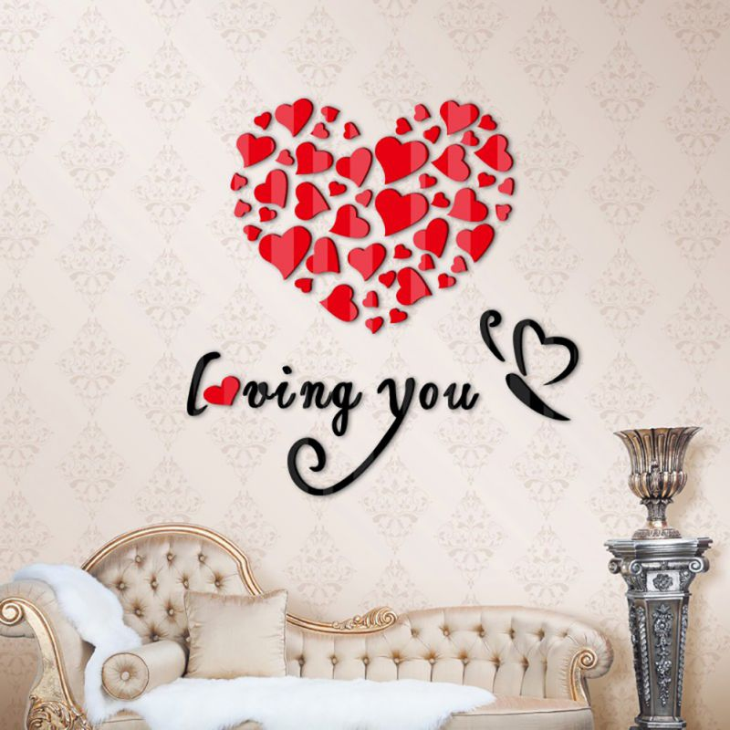 Diy Wall Art Hearts : Diy d hearts mirror wall stickers wedding party bedroom