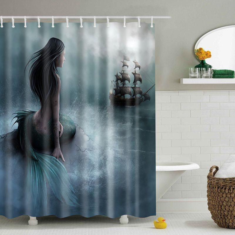 AU Waterproof Bathroom Shower Curtain Sheer Hanging Panel