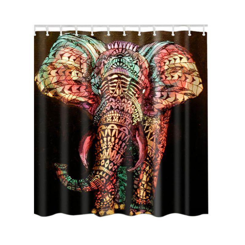 US Waterproof Bathroom Shower Curtain Fabric Animal