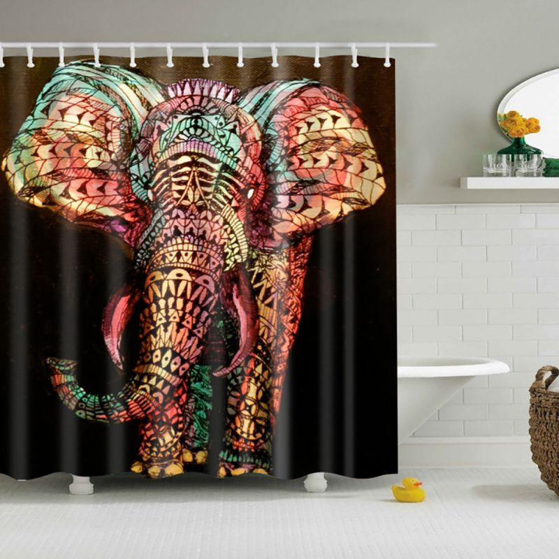 chic waterproof fabric shower curtain 3d print panel sheer with 12