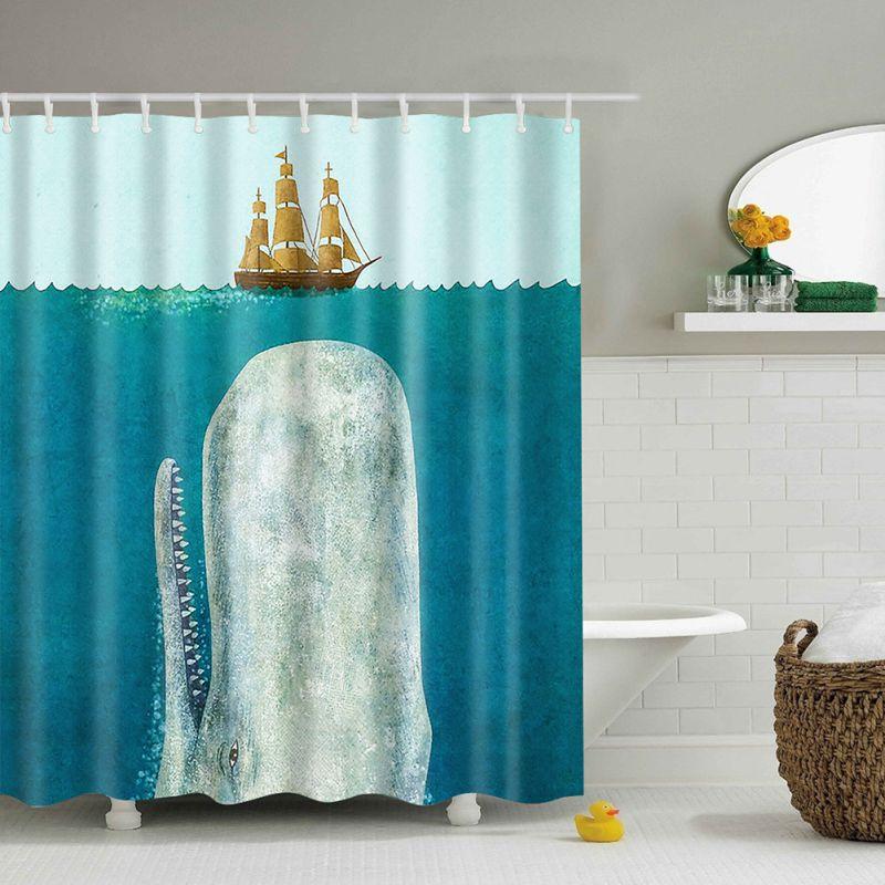 Fabric Waterproof Bathroom Shower Curtain Animals Printing Bath Curtain Artistic Ebay