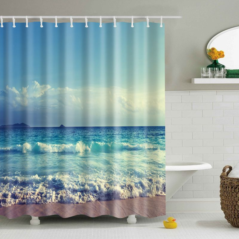 Bathroom Fabric Shower Curtain Include 12 hooks Set Water Resistant ...