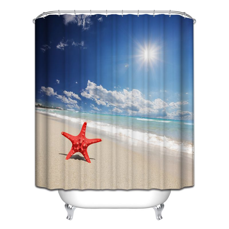 Modern Designer Polyester Bathroom Shower Curtain With 12