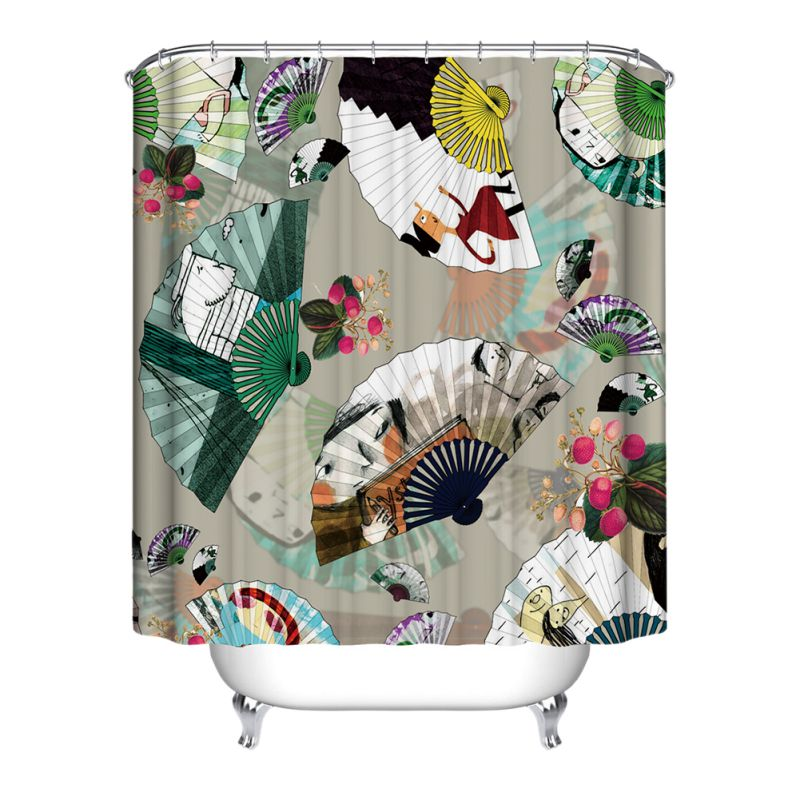 Cartoon scenery waterproof shower curtain for bathroom for Animal themed bathroom decor