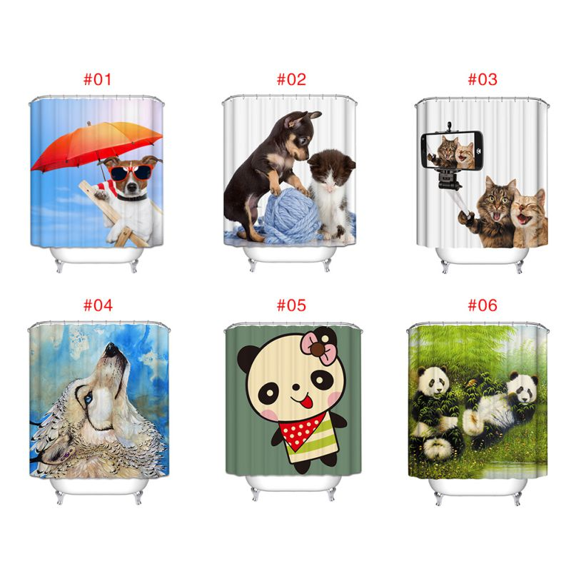 Animal theme waterproof polyester bathroom shower curtain for Animal bathroom decor